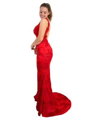 Annie red sequin lace mermaid dress with V neck