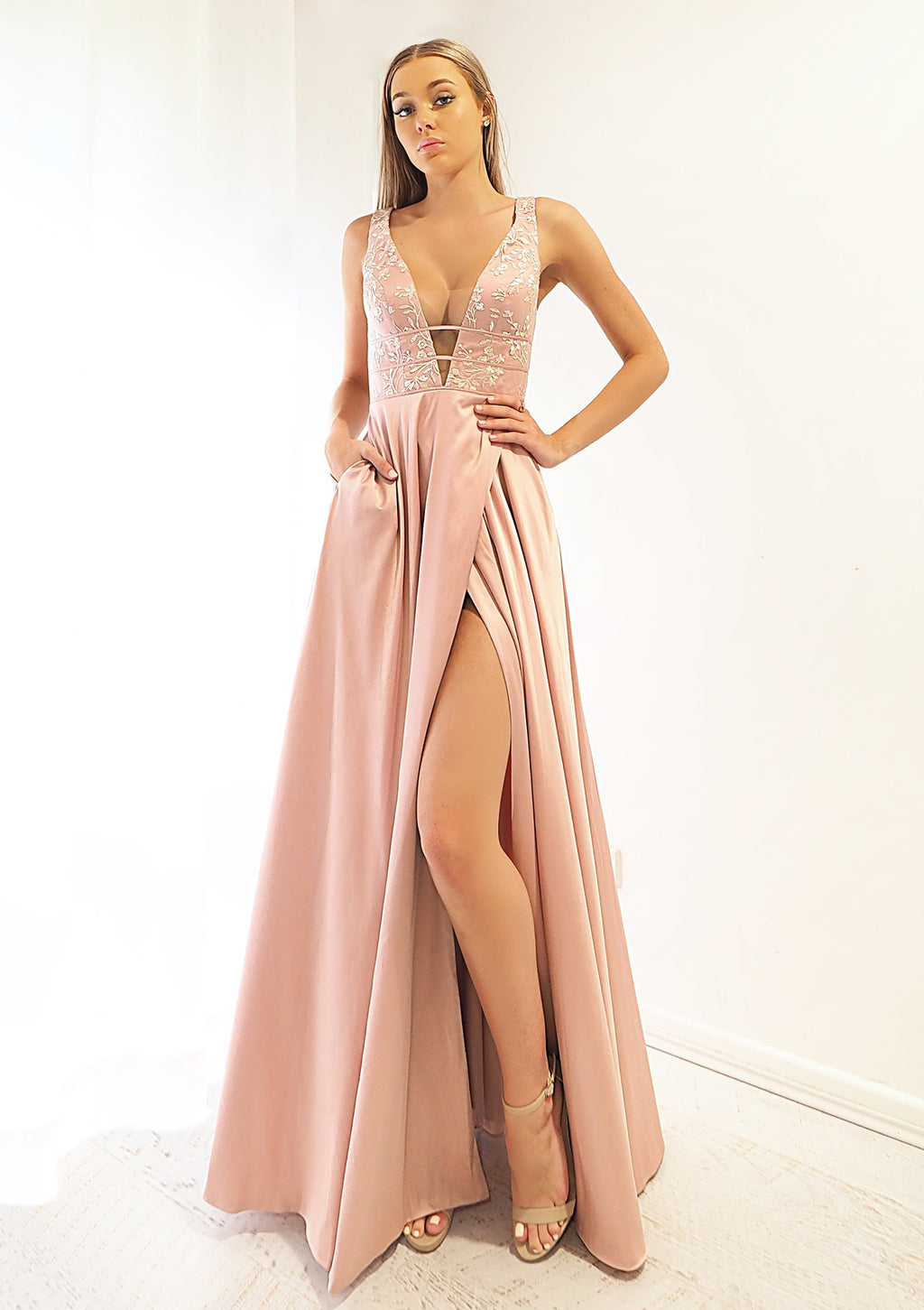 Miriam muted Pink Fondue satin dress with deep V neck