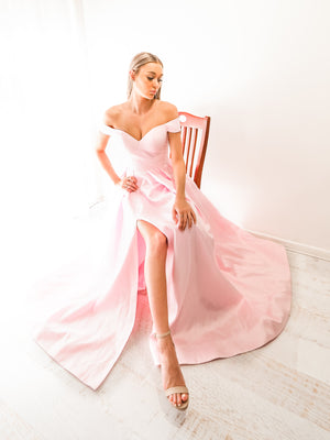 Sparkling baby pink off the shoulder princess dress with lace up back and leg split