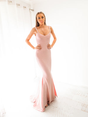 Ruby Pink sparkling mermaid low back dress