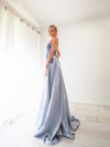 Steel baby blue satin dress with beaded lace