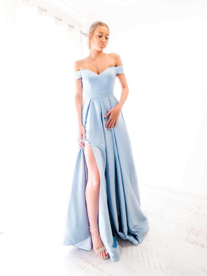 Elianna blue satin off the shoulder princess dress for hire