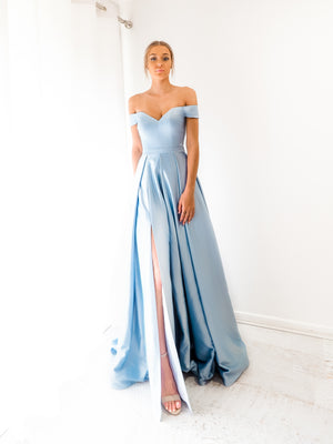 Baby blue Satin off the shoulder princess dress with lace up back and leg split