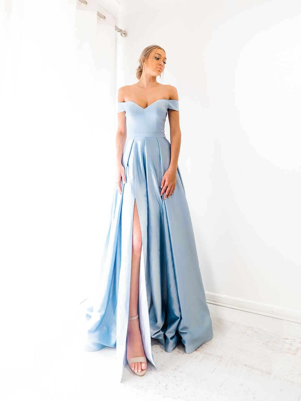 Elianna baby blue satin off the shoulder dress with lace up back