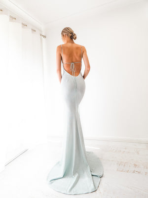 Minty Blue sparkling cowl neck mermaid low back dress