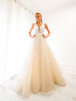 Antoinette ivory princess dress with V neck and 3D flower embroidery