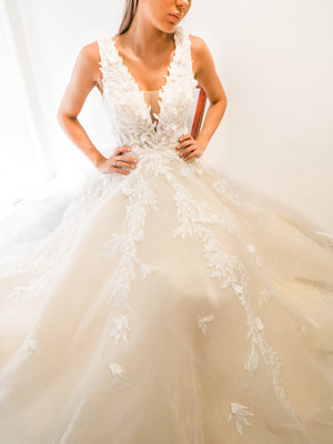 Antoinette ivory princess dress with V neck and 3D flower embroidery for hire