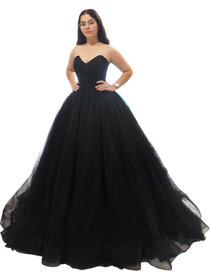 Chiara black tulle V neck strapless dress