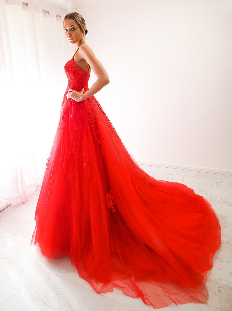 Akana red tulle princess dress