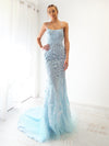 Amphitrite baby blue tulle mermaid dress with criss-cross back
