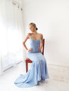 Liah cowl neck blue shimmering mermaid dress
