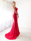 Milani red sequin lace stretch knit mermaid dress