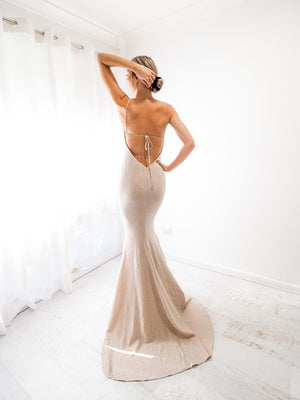 Alliza sparkling gold nude cowl neck mermaid dress