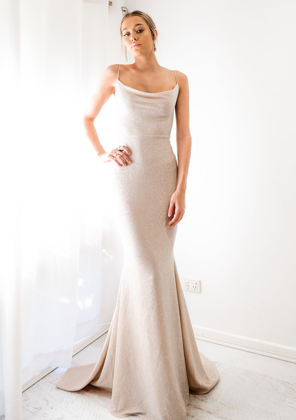 Elle sparkling gold nude cowl neck mermaid dress