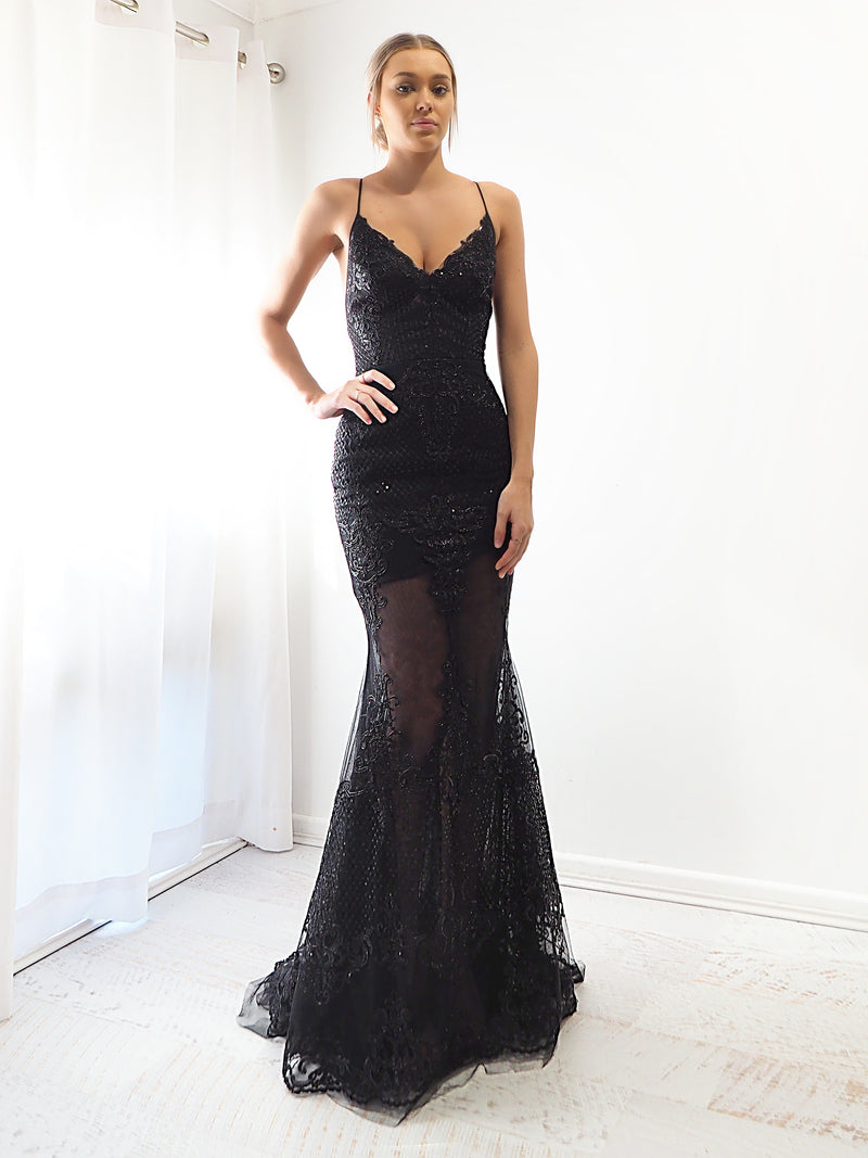 Black Dahlia sequin mermaid dress for hire