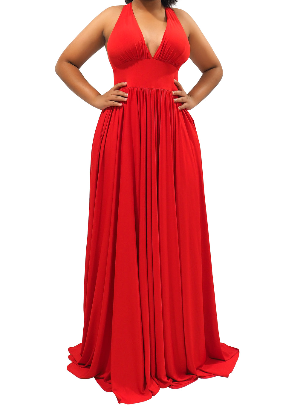 Indria red jersey dress