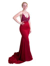 Nalita dark red satin beaded top mermaid dress