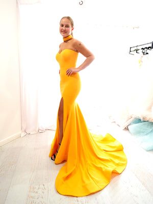 Sophie mango yellow strapless dress with slit and hand beaded top
