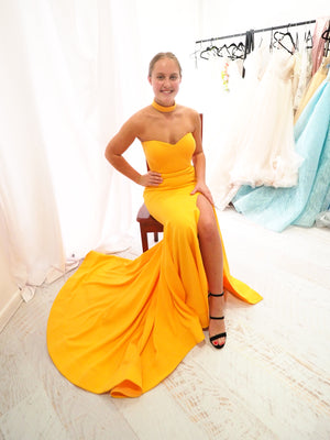 Angie mango yellow strapless dress with slit