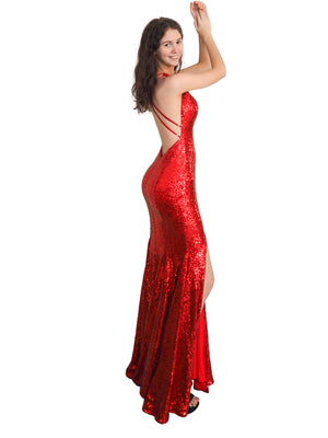 Red Goddess sequin mermaid dress with halter-neck and deep V-neck