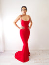 Ciara red cowl neck bright red dress with strap back