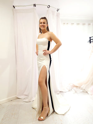 Emilia black and white strapless dress