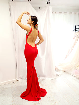Samantha red low back dress
