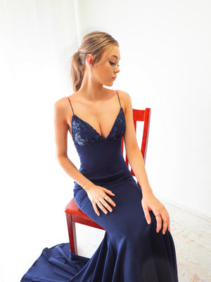 Irisa midnight Blue sequin lace mermaid dress