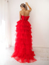 Erythra red pleated layered high and low tulle dress