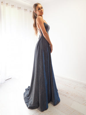 I will always love you sparkling holographic electrifying blue dress with slit