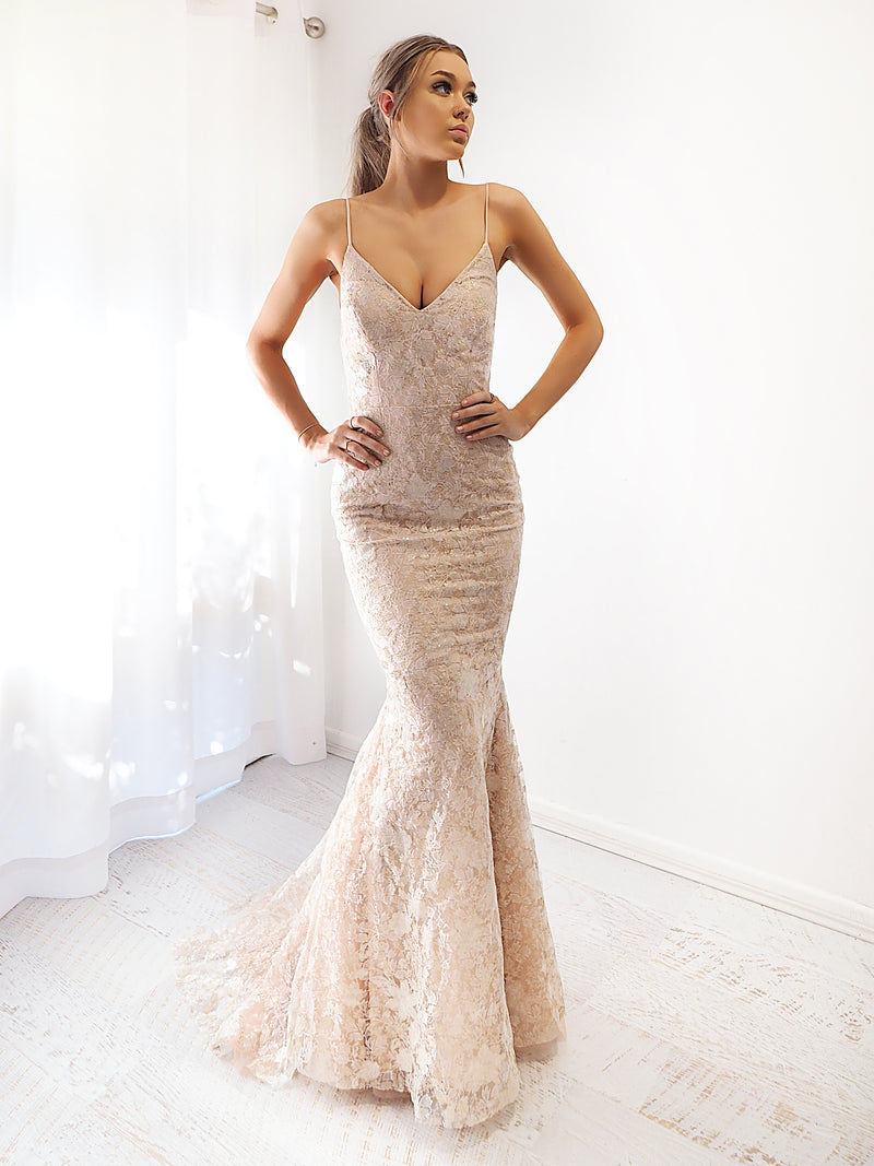 Tailah gold lace mermaid dress with criss-cross back