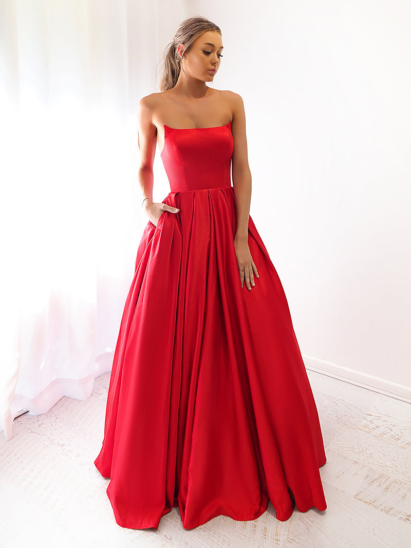 Esmeralda bright red satin princess dress with crescent moon neckline