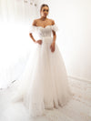 Cynthia White bustier off the shoulder princess dress