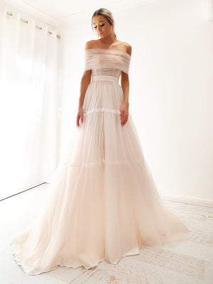 Elenah Strapless or off the shoulder 3 level blush tulle dress