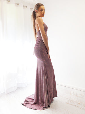 Ximena sparkling purplish pink mermaid dress with  laceup back