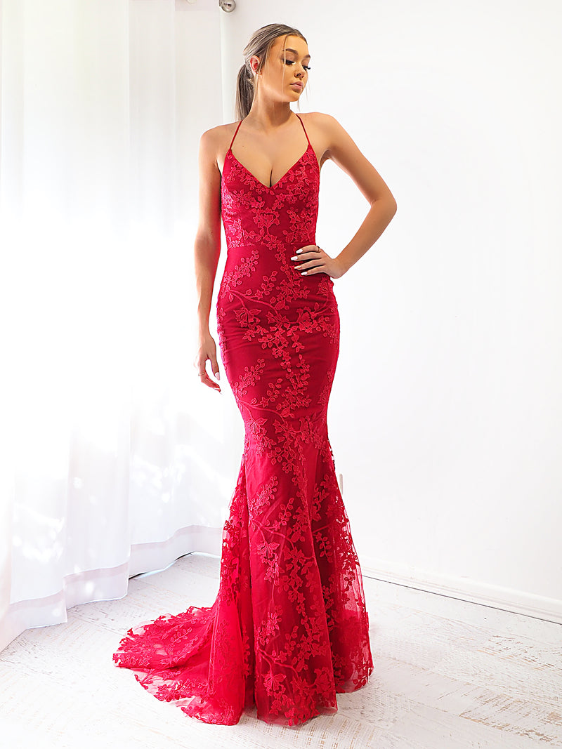 Ayleen deep red lace criss-cross back mermaid dress for hire
