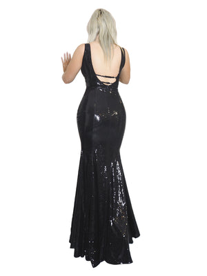 Emily black goddess sequin mermaid dress