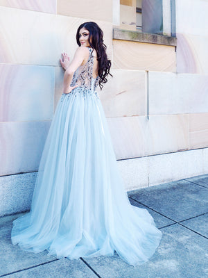 Tealia grey princess dress