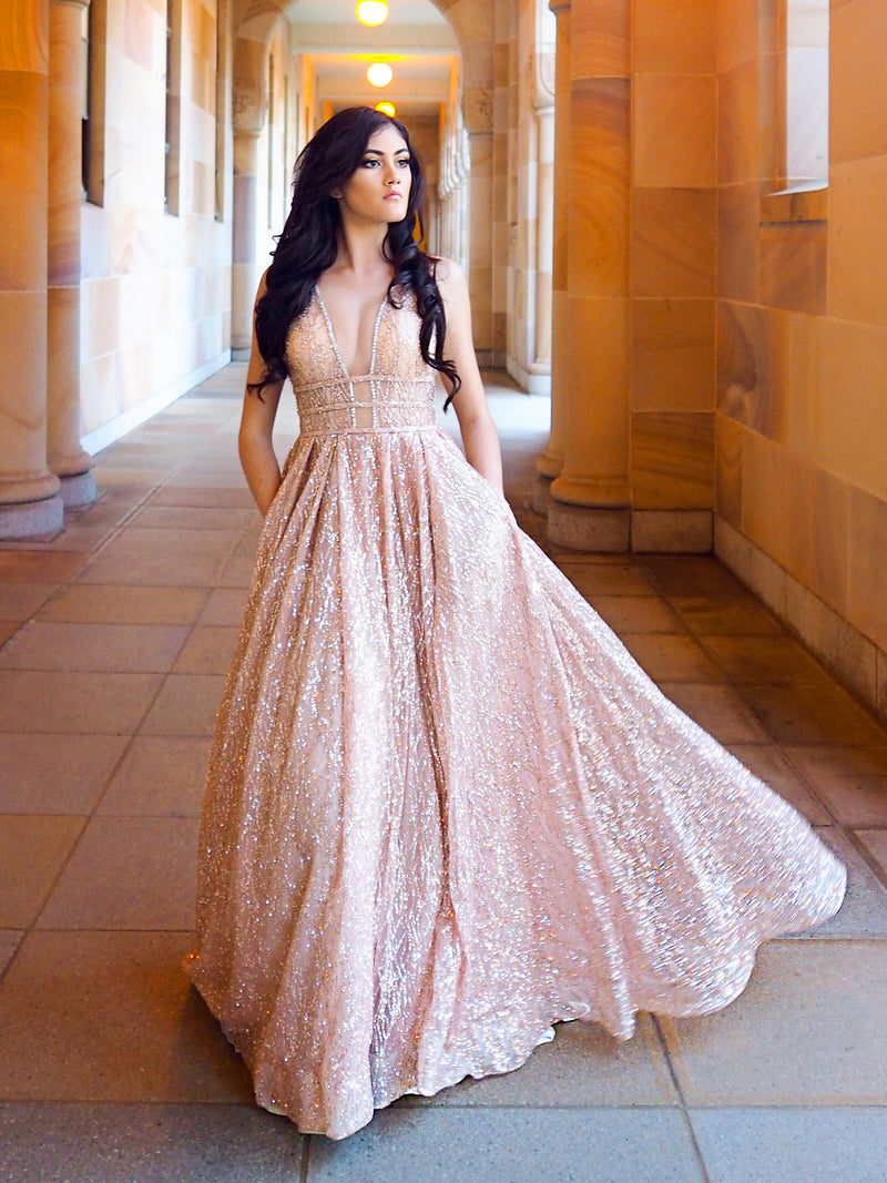 Aphrodite rose gold sparkling dress