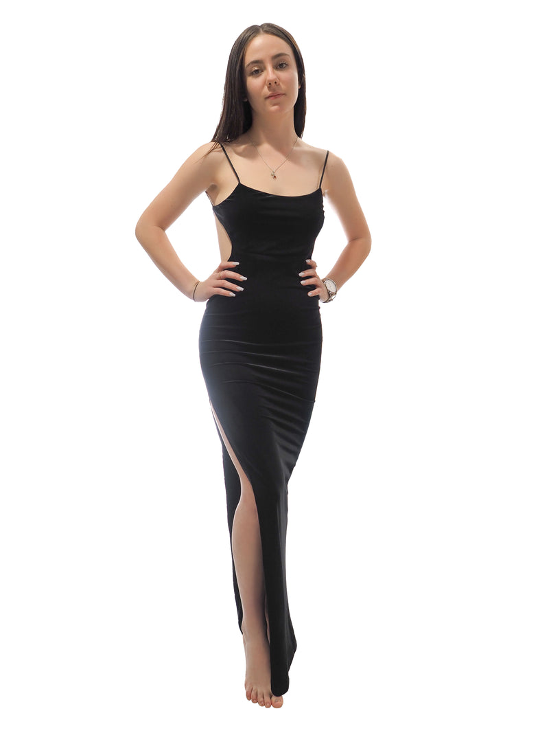 Zoe black spaghetti straps cut-out velvet dress