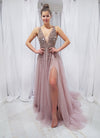 Mine purplish muted pink beaded princess dress