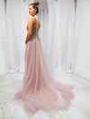 Mine purplish muted pink beaded tulle dress