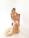 Venus gold sequin hand beaded top sparkling mermaid dress