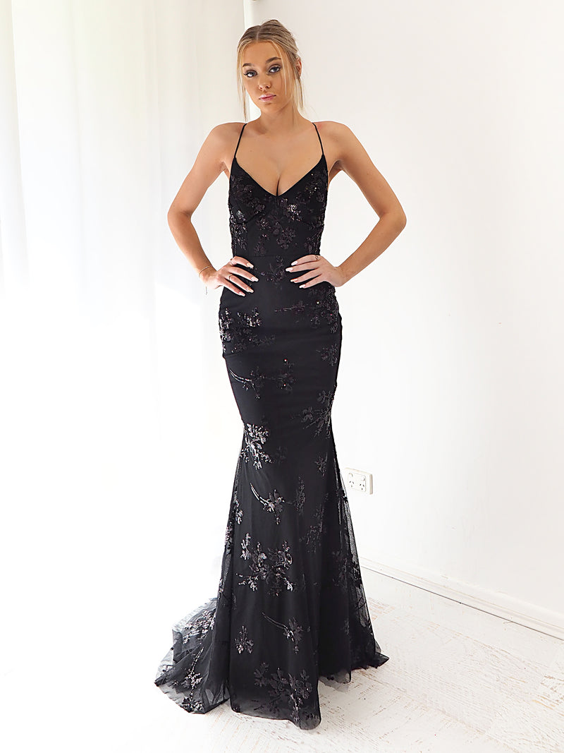 Noralyn Black sequin lace mermaid dress