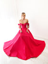 Elle bustier corset red taffeta dress with bows