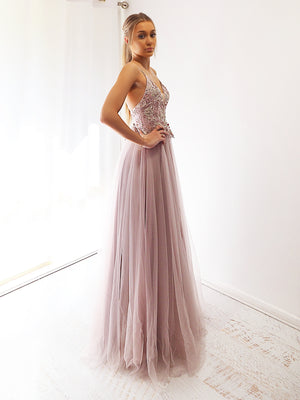 Elsie Pastel Mauve tulle dress with beaded lace top