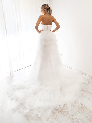 Niveus white pleated layered high and low tulle dress for hire