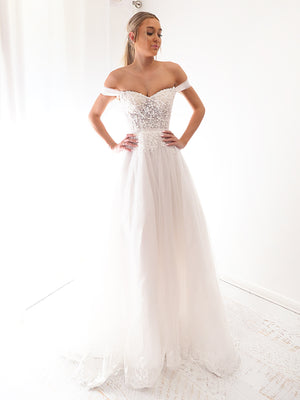 Yanni white off the shoulder debutante dress