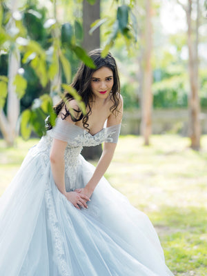 Belleza princess walk grey wedding dress