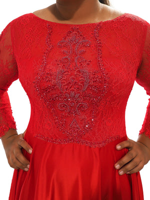 Rosie bright red satin dress with lace beaded top